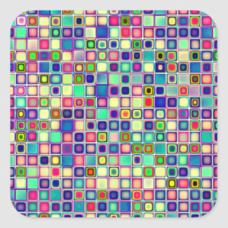 Distressed Multicolored 'Gumdrops' Tiles Pattern Square Sticker