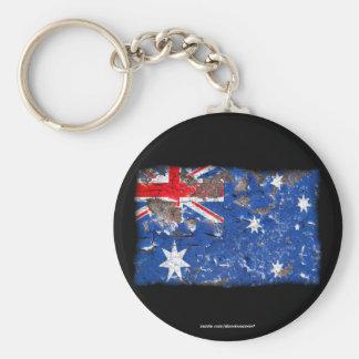 Distressed Nations™ - Australia (keychain) Basic Round Button Keychain