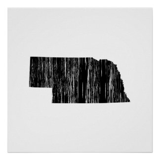 Distressed Nebraska State Outline Poster
