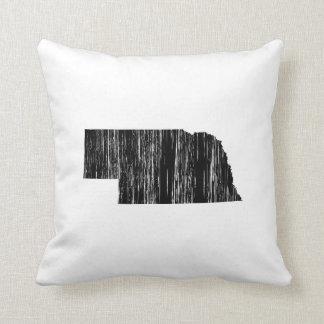 Distressed Nebraska State Outline Throw Pillow