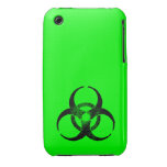 Distressed Neon Green and Black Biohazard iPhone 3 Case