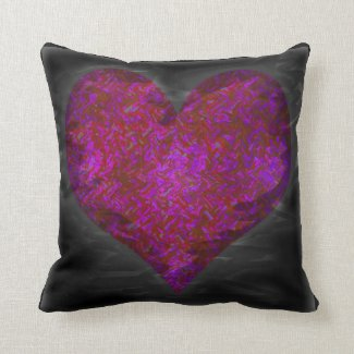 Distressed Neon Heart Throw Pillow