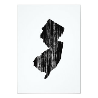 Distressed New Jersey State Outline 5x7 Paper Invitation Card