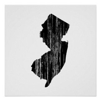 Distressed New Jersey State Outline Poster