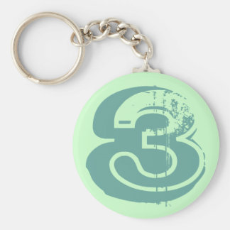 Distressed Number 3 Keychain