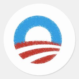 Distressed Obama Symbol Classic Round Sticker