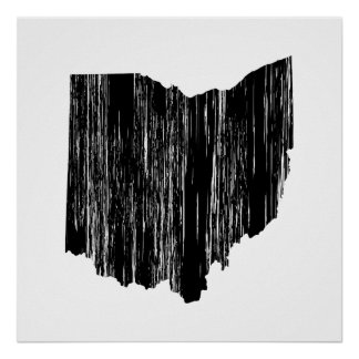 Distressed Ohio State Outline Poster