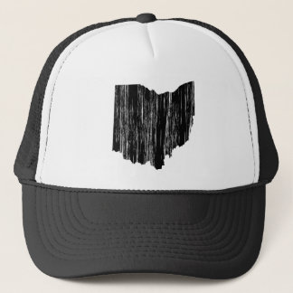 Distressed Ohio State Outline Trucker Hat