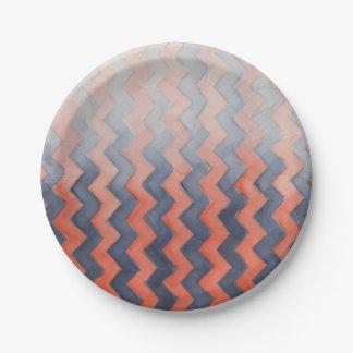 Distressed Orange & Blue Sideways Chevrons Paper Plate