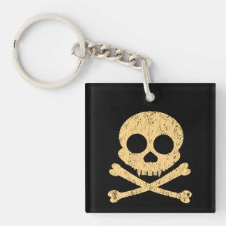 Distressed Orange Skull Double-Sided Square Acrylic Keychain