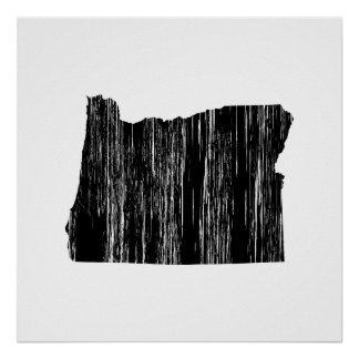 Distressed Oregon State Outline Poster
