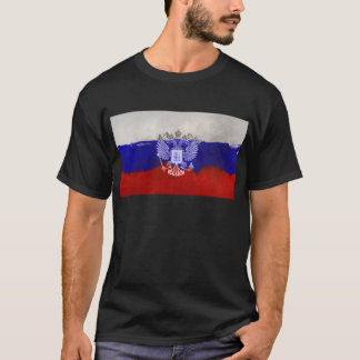 Distressed Painted Flag of Russia with Eagle T-Shirt