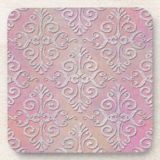 Distressed Pale Pink Damask Beverage Coaster