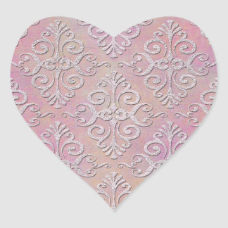 Distressed Pale Pink Damask Heart Stickers