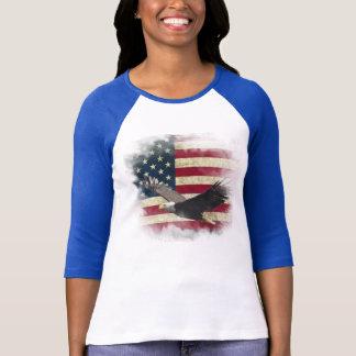 Distressed Patriotic US Flag, Bald Eagle in Flight T-Shirt