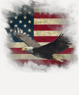 Distressed Patriotic US Flag, Bald Eagle in Flight Tee Shirt