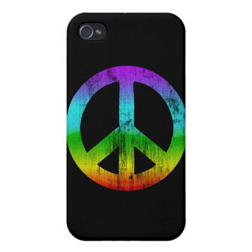 Distressed peace-rainbow iPhone 4 case