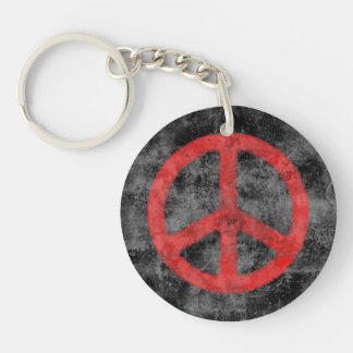 Distressed Peace Sign Keychain