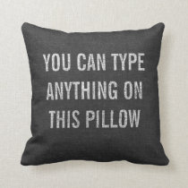 Distressed Personalized Dark Grey Burlap Throw Pillow