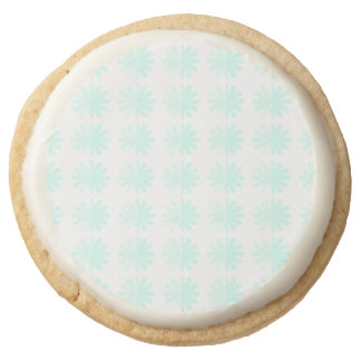 Distressed Petal Snowflake Pattern Round Shortbread Cookie
