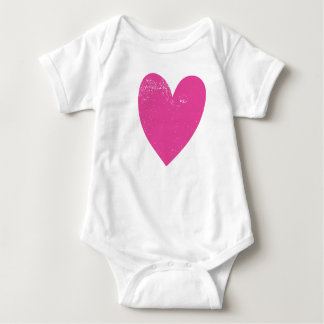Distressed Pink Heart Baby Bodysuit