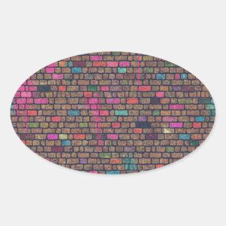 Distressed Pink Painted Bricks Oval Sticker