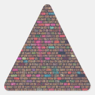 Distressed Pink Painted Bricks Triangle Sticker