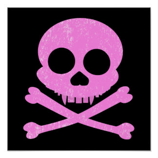 Distressed Pink Skull Poster