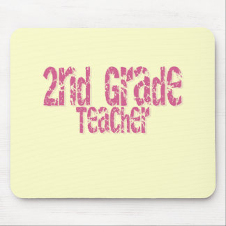 Distressed Pink  Text 2nd Grade Teacher Mouse Pad