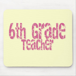 Distressed Pink Text 6th Grade Teacher Mouse Pad