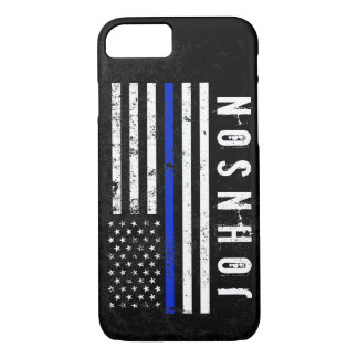 Distressed Police Style American Flag Personalized iPhone 7 Case