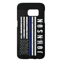 Distressed Police Style American Flag Personalized