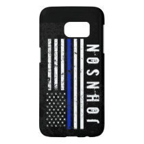 Distressed Police Style American Flag Personalized Samsung Galaxy S7 Case