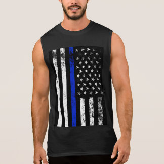 Distressed Police Style USA Flag Sleeveless Shirt