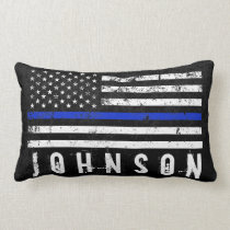 Distressed Police Styled American Flag Custom Name Lumbar Pillow