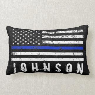 Distressed Police Styled American Flag Custom Name Lumbar Pillow