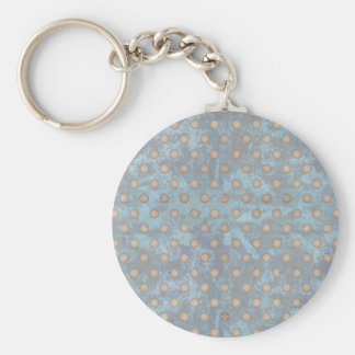 Distressed Polka Dot Pattern in Blue and Beige Key Chain
