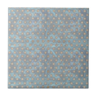 Distressed Polka Dot Pattern in Blue and Beige Ceramic Tiles