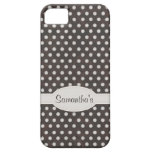 Distressed Polka Dot Pattern in Charcoal & White iPhone 5 Covers