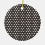 Distressed Polka Dot Pattern in Charcoal & White Ornament