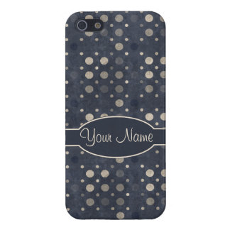 Distressed Polka Dot Pattern in Dark Blue & Beige Cover For iPhone SE/5/5s