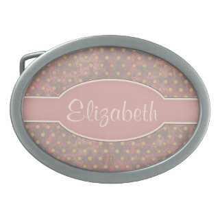 Distressed Polka Dot Pattern in Pink and Beige Oval Belt Buckle