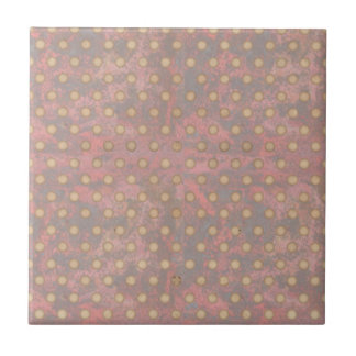 Distressed Polka Dot Pattern in Pink and Beige Ceramic Tiles