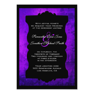 Distressed Purple Black Gothic Wedding Invitation
