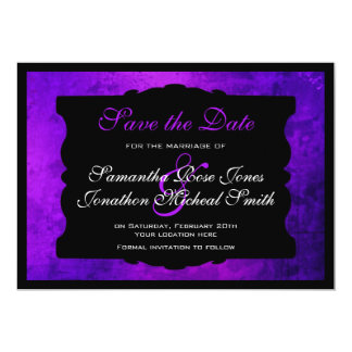 Distressed Purple Gothic Wedding Save the Date Card