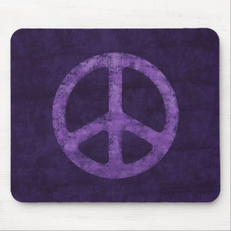 Distressed Purple Peace Sign Mouse Pad