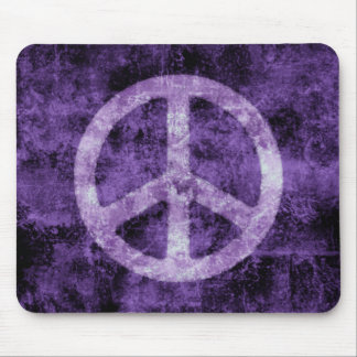 Distressed Purple Peace Sign Mousepad