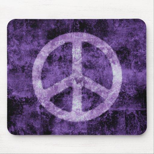 Distressed Purple Peace Sign Mousepad
