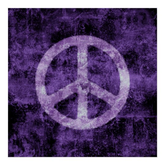 Distressed Purple Peace Sign Poster