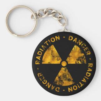 Distressed Radiation Symbol Keychain